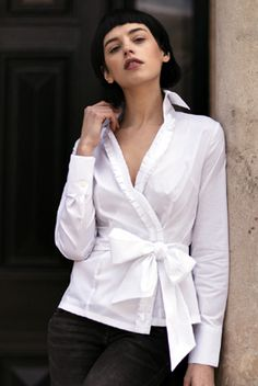 "Perfekcija Shirts perfect white wrap over shirt ""Madison"""