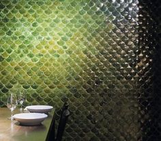 Powder Room Tile: Fish Scale I have to tell you I am completely crushing on this fish scale tile from Academy Tiles in Australia. Home Interior, Interior And Exterior, Interior Design, Interior Decorating, Decorating Ideas, Decor Ideas, Fish Scale Tile, Wall Design, House Design