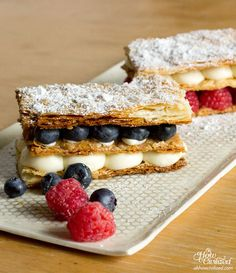 In the kitchen with Queenie again and this time, she made this decadent Yuzu & Berry Mille-feuille (pronounced meel foy). Light and rich all at the same time with a touch of spring and summer with yuzu (Japanese citrus fruit) and berries.