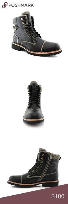 """Mens """"Ferro"""" Wool Lined Lace Up & Zipper Boots NEW Mens """"Ferro"""" Wool Lined Lace Up & Zipper Boots  Details: Top tier synthetic leather provides superior strength and breathability. High-quality rubber sole provides strong flexibility, durability, and impact resistant. Classic buckle detailing with soft fabric ankle make stylishness meet comfortableness. Wool attached interior give you extra softness and comfortableness, warm your feet during the cold winter days  Moda Boutique SF Moda Black…"""