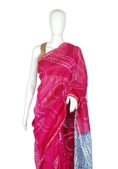 Pink and Blue Chanderi Shibori Saree