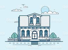 улица города и Пиццерия, современная архитектура В строке стиль Сток Вектор Стоковая фотография