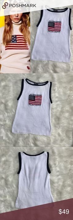 🍂sale🍂Vtg Ralph Lauren Logo Sweater #046 Classic Ralph Lauren American flag sleeveless American flag sweater from the short lived 1990's Polo Jeans Co. line. Size Large, runs slightly small, see measurements.  Very good vintage condition. One faint off-white colored blemish the size of a pea as shown in photos as well as some wear at the bottom, also shown. Both very subtle and not noticeable when worn IMO.  As worn by Anna Ewers and Kendall Jenner.   100% Cotton. Made in Fiji.   Bust…