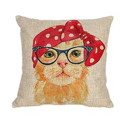iBOSOM 18 X 18 Decorative Cotton Linen Square Pillowcase Throw Pillow Cover Cushion Case Miss Cat Hair band * Check out the image by visiting the link.