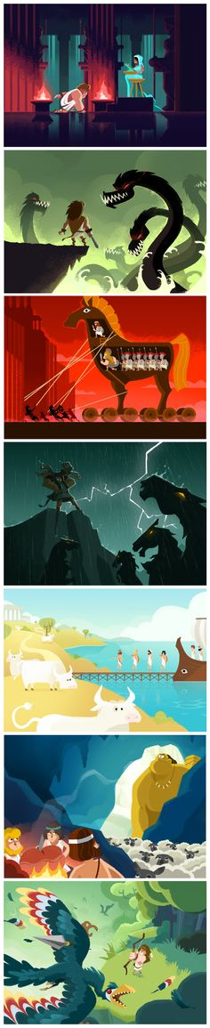 Illustrations extraites des livres pour enfants Ulysse et Hercule - Collection Mythologie - Quelle Histoire Editions