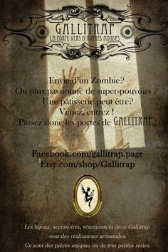 Gallitrap, participante d'Everyday is Halloween for Us, Seconde Editon, 2012.   * La page d'Everyday: https://www.facebook.com/coffin.glok * Son site: www.Facebook.com/gallitrap.page www.etsy.com/shop/Gallitrap