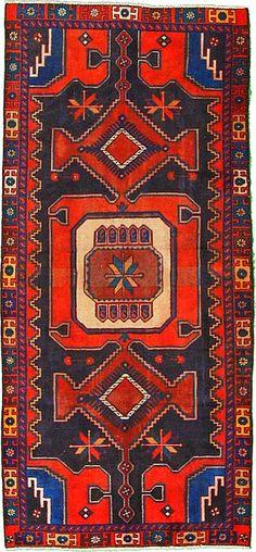 4' 3 x 9' 3 Navy Blue Hamedan Persian Rugs