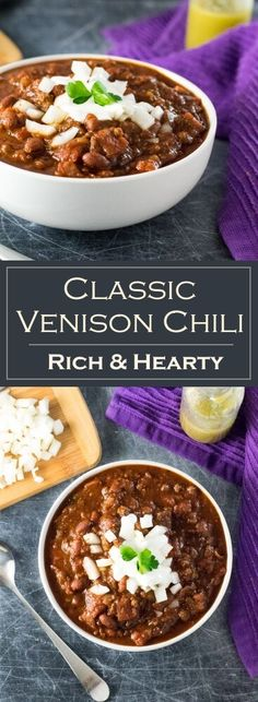 How to make venison chili - Wild Game Recipe The effective images we offer . Chilli Recipes, Gourmet Recipes, Cooking Recipes, Healthy Recipes, Cooking Games, Fruit Recipes, Healthy Chili, Cooking Bacon, Cooking Turkey