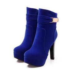 Ericdress Suede Metal Decoration High-heel Boots