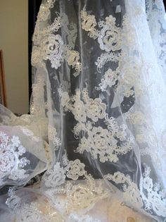 Beaded Lace Fabric | Ivory beaded bridal Lace Beaded Fabric Bridal by Threads2Trends, $36 ...