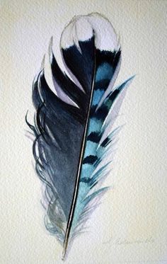 Watercolor of a Blue Jay Feather.