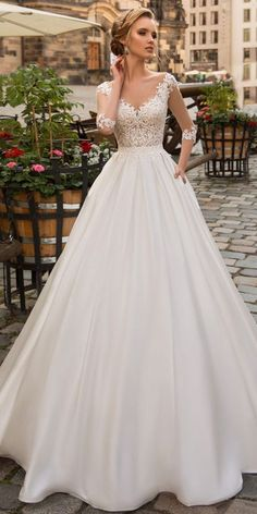 Modest Tulle & Satin Scoop Neckline A-line Wedding Dress Wit.- Modest Tulle & Satin Scoop Neckline A-line Wedding Dress With Lace Appliques & B… Modest Tulle & Satin Scoop Neckline A-line Wedding Dress With Lace Appliques & Beadings & Pockets - Pastel Wedding Dresses, Wedding Dress Trends, Modest Wedding Dresses, Bridal Dresses, Pink Dresses, Gown Wedding, Lace Wedding, Maxi Dresses, Backless Wedding