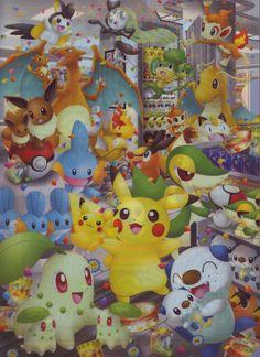 Eevee, Charizard, Dragonite, Meowth, Mudkip, Tepig, Snivy, Pikachu, Chikorita, Oshawott, ... (Pokémon Center Nagoya clearfile 2013)