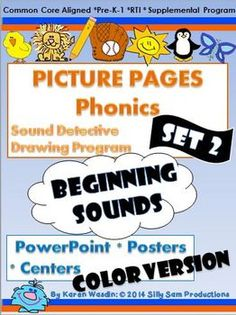 PICTURE PAGES Phonics Program Set 2 BEGINNING SOUNDS COLOR is a Supplemental Phonics Program to provide the much needed extra practice and review of phonics skills in a primary classroom. Set 2 BEGINNING SOUNDS: COLOR: provides 48 COLOR Posters to be used as a PowerPoint Lesson or Center.