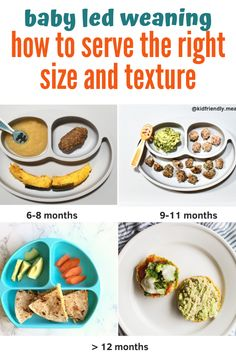 Baby led weanning - how to serve the right food size and texture. Hope this post encourages and you to offer a wide variety of foods in a fun, safe way! How to Make Homemade Baby Food? 27 Tips, Hacks, and baby food Recipes! Baby Led Weaning First Foods, Baby First Foods, Baby Weaning, Baby Finger Foods, Baby Led Weaning 7 Months, Baby Led Weaning Lunch Ideas, Baby Led Weaning Breakfast, Baby Breakfast, Fingerfood Baby