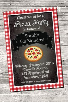 Chalkboard Pizza Party Birthday Photo Invitation with by Design13
