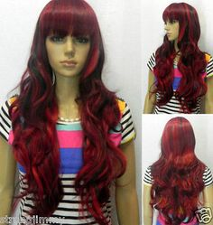 Stylish Pretty long Wavy Red and Black Mix hair Cosplay lady's wig H-11