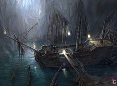пиратский корабль в пещере вектор