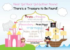 Pirate and Princess Birthday Party Invitations. Cute Invitations for a twin birthday or just a single birthday. 1st Birthday Princess, Little Girl Birthday, 3rd Birthday Parties, Princess Party, Birthday Party Invitations, Twin Birthday, 4th Birthday, Birthday Ideas, Knight Party