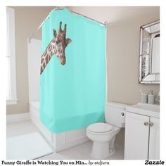 Shop Funny Giraffe is Watching You on Mint Green Shower Curtain created by stdjura. Funny Giraffe, Cute Giraffe, Green Shower Curtains, Mint Green Background, Bath, Shopping, Things To Sell, Design, Products