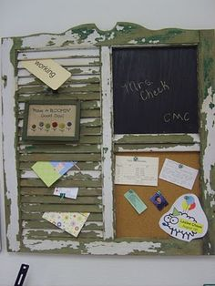 Love this old chippy shutter blackboard/bulletin board idea. Also, some good ideas for teachers wanting to decorate with their school mascot for school spirit.