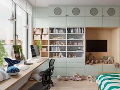 Kids Study: 53 Inspirational Kids' Study Space Designs And Tips You Can Copy From Them. Kids Study Spaces, Study Room Kids, Study Room Design, Study Room Decor, Study Rooms, Green Bedroom Design, Yellow Kids Rooms, Futuristisches Design, Design Styles