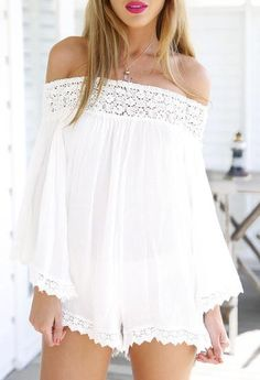 Sexy white romper off the shoulder lace jumper. This beautiful jumper can be worn with gladiator sandals. Season :Fall Pattern Type :Plain Color :White Sleeve Length :Half Sleeve Material :Polyester N
