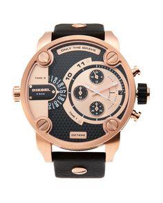 8b787b61f1e Diesel DZ7282 Rose Gold-Tone   Black Watch Black Leather