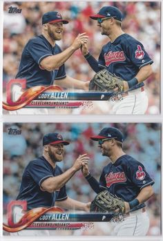 a6464de90b0 2018 Topps Series 2 Cody Allen Cleveland Indians Foil and Base 2 Card Lot   ClevelandIndians