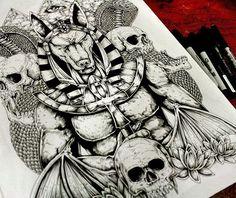 Anubis Back Tattoo Desing   :::::SOLD:::::  #tattodesign #anubis #Tattoo #inkdraw #inkoctober #skulls #flowers #snake #cobra #Egyptian #art #ilustration #ilustración #dibujo #backtattoo #blackandwhite #ink #math #makes #my #thinker #box #hurt