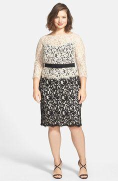 Tadashi Shoji Belted Lace Dress (Plus Size) | Nordstrom