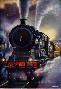 The Childrens Encyclopedia The Continental Night Express leaving Liverpool St Canvas Art - A Holland Browne x Train Tattoo, Train Drawing, Train Posters, Liverpool Street, Train Art, Train Pictures, Old Trains, Air Brush Painting, Train Tickets