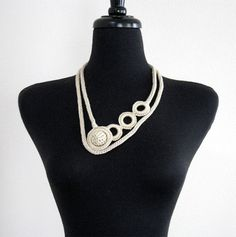 Light Beige Taupe Knitted Necklace Pendant  by KnitsomeStudio, $28.00