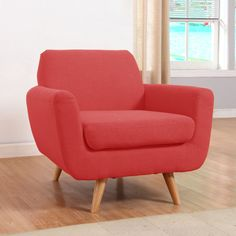 This traditional love seat design adds a contemporary look with vibrant colors and solid wood legs. Style variation available.