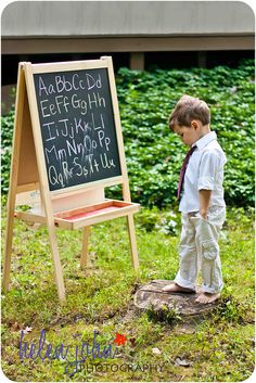 back to school photo idea: chalkboard with alphabet - adorable!