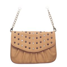 """Rae-Sand Grace Adele Clutch    Rae combines a simple shape with tough silver studs — perfect when you want to be elegant with an edge.     Fits inside the exterior pocket on your favorite Grace Adele bag.     • Faux leather  • 9"""" L, 7"""" H  • Detachable chain and 27.25"""" faux leather strap    https://myfashions.graceadele.us/GraceAdele/Buy/ProductDetails/10615"""