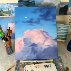 Another big ol' pink cloud! Medical junk and chronic pain have been getting in… Another big ol' pink cloud! Medical junk and chronic pain have been getting in… – – Art Inspo, Kunst Inspo, Painting Inspiration, Aesthetic Painting, Aesthetic Art, Guache, Art Hoe, Painting & Drawing, Painting Clouds