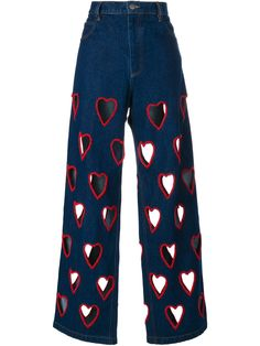 """heart cut out jeans by ashish🥰"" Denim Flares, Blue Denim Jeans, Jeans Pants, Cut Out Jeans, Diy Jeans, Mode Outfits, Fashion Outfits, Women's Fashion, Fashion Tips"
