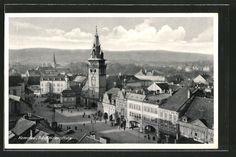 old postcard: AK Komotau / Chomutov, Blick auf den Adolf Hitler-Platz