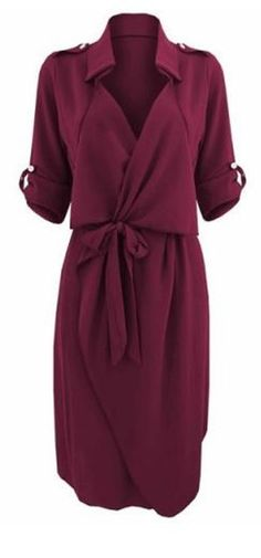 Awesome Work Dress! Wine Color Stylish Turn-Down Collar Long Sleeve Solid Color Self Tie Belt Women's Trench Coat #Working #Woman #Fashion