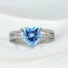 Ornate 925 Sterling Silver Ring With Blue Sapphire - USD $99.95