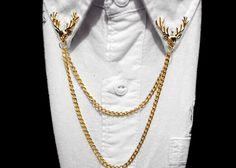 UNISEX Broche doble conectado con cadenas Se puede usar en el cuello de la camisa, solapa del saco, chamarras, sombreros etc. Baño de oro 14k