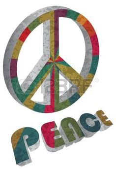 Retro Colorful Peace Symbol and Text Isolated on White Background Illustration photo