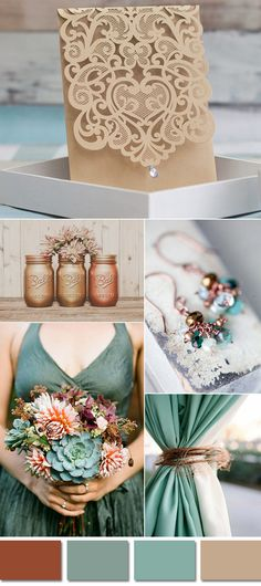 rustic grayed jade and copper wedding color ideas and laser cut wedding invitations