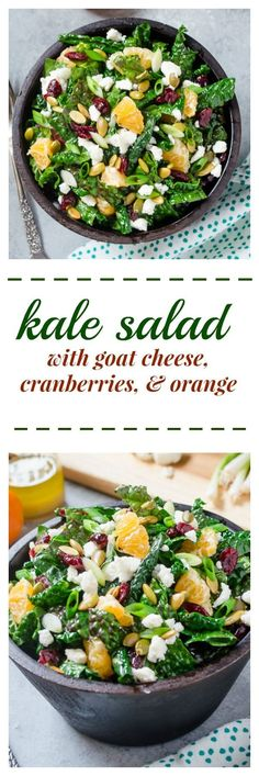 Kale Salad with Goat Cheese, Cranberries, and Orange