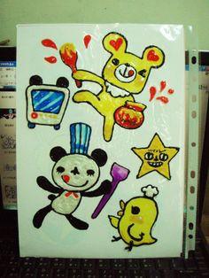 吐司熊/帕尼尼/米豆 - 手繪玻璃貼。  畫早餐主題的時候都很歡樂XDD 因為早餐是最有活力的一開始, 嗨哈哈