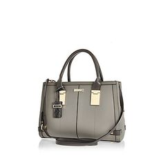 Grey hinge handle large tote handbag £45.00