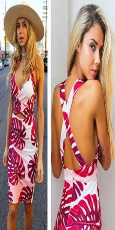 Sexy Crossover Backless V-neck Floral Print Sling Dress