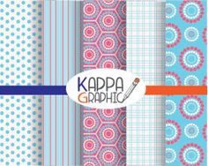 "Digital paper pattern ""pink and blue"" di KappaGraphic su Etsy"