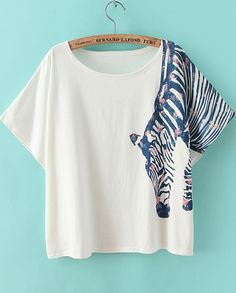 Shop White Short Sleeve Zebra Print Loose T-Shirt online. Sheinside offers White Short Sleeve Zebra Print Loose T-Shirt & more to fit your fashionable needs. Free Shipping Worldwide!